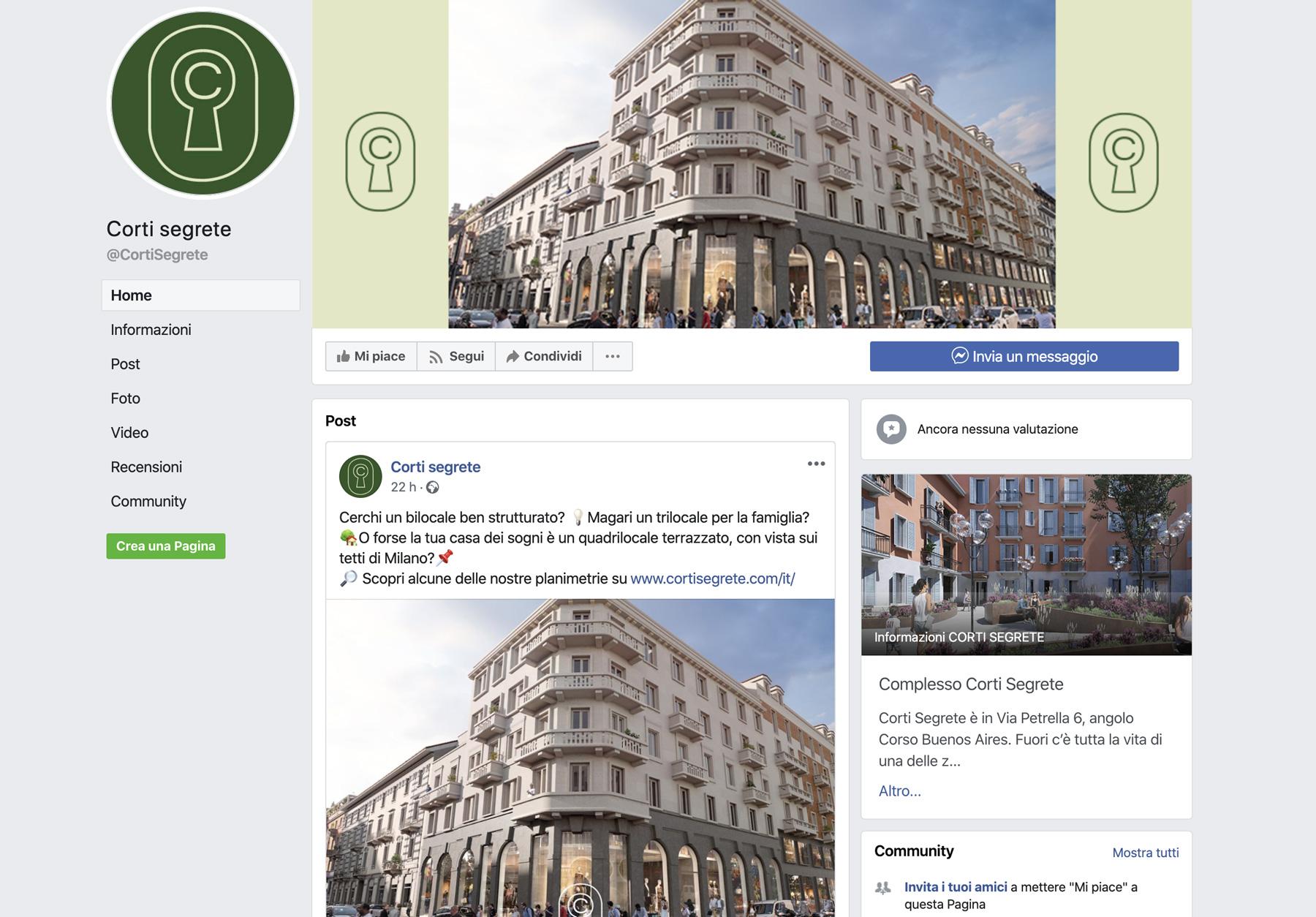 Pagina Facebook Corti Segrete Milano